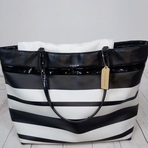 COACH Stripe Coated Canvas Tote